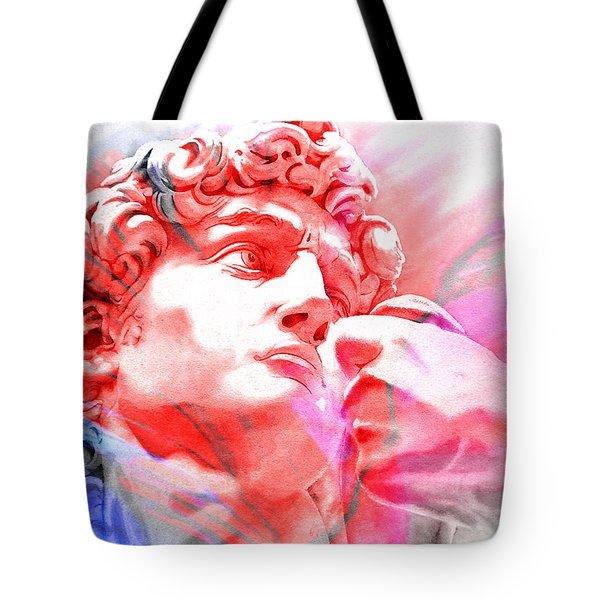 Tote Bag featuring the painting Abstract David Michelangelo 1 by J- J- Espinoza