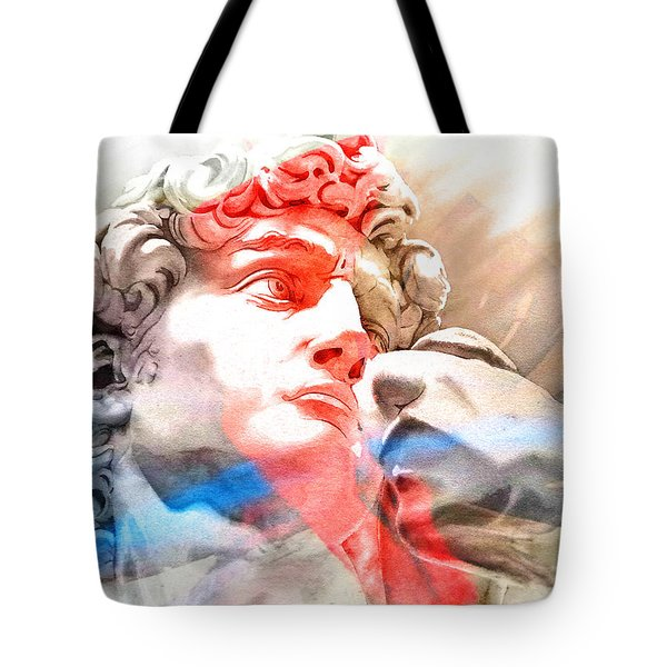 Tote Bag featuring the painting Abstract David Michelangelo 2 by J- J- Espinoza