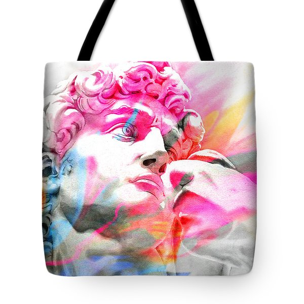 Tote Bag featuring the painting Abstract David Michelangelo 5 by J- J- Espinoza