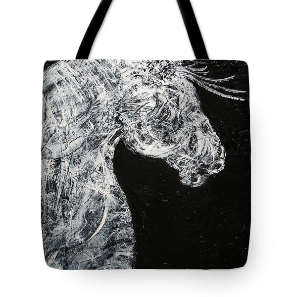 Abstract Draft Horse Black And White Painting Tote Bag