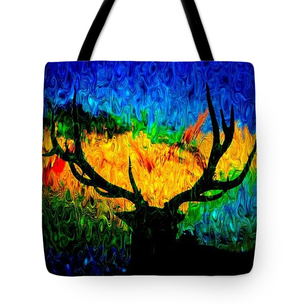 Abstract Elk Scenic View Tote Bag