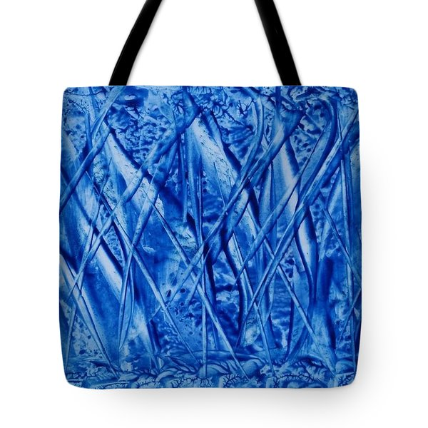 Abstract Encaustic Blues Tote Bag