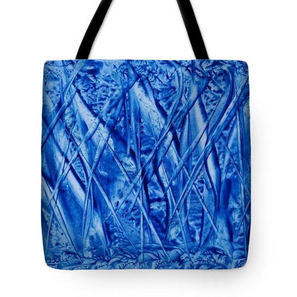 Abstract Encaustic Blues Tote Bag