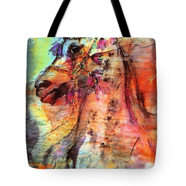 Abstract Expressive Arabian Stallion Art Tote Bag