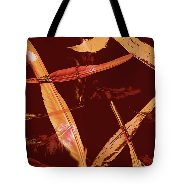 Abstract Feathers Falling On Brown Background Tote Bag