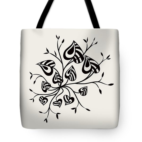 Abstract Floral With Pointy Leaves In Black And White Tote Bag