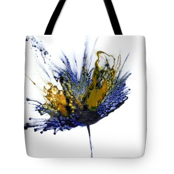 Abstract Flower Navy Blue Yellow 1 Tote Bag by Catherine Jeltes