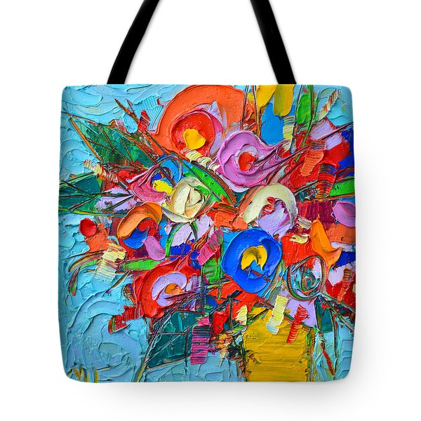 Abstract Flowers Floral Miniature Modern Impressionist Palette Knife Oil Painting Ana Maria Edulescu Tote Bag