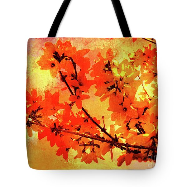 Abstract Forsythia Flowers Tote Bag