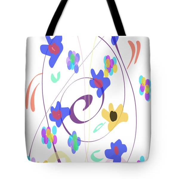 Tote Bag featuring the digital art Abstract Garden Nr 7 Naif Style by Bee-Bee Deigner