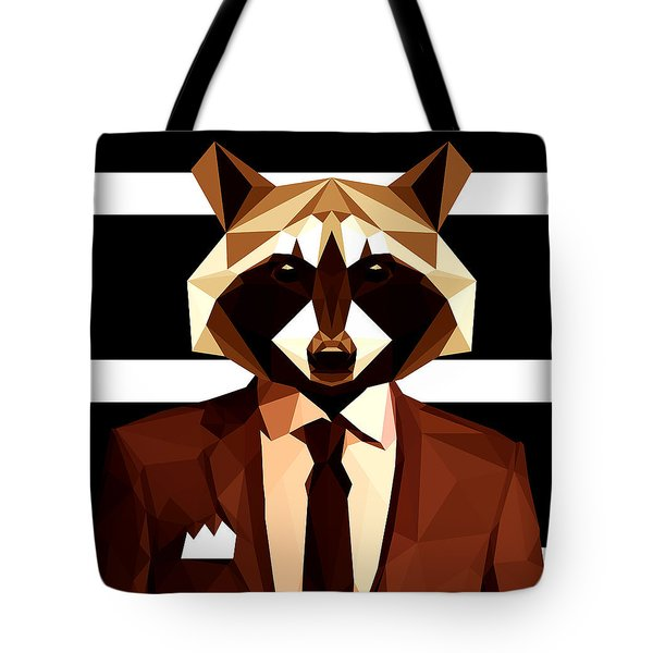 Abstract Geometric Raccoon Tote Bag by Gallini Design