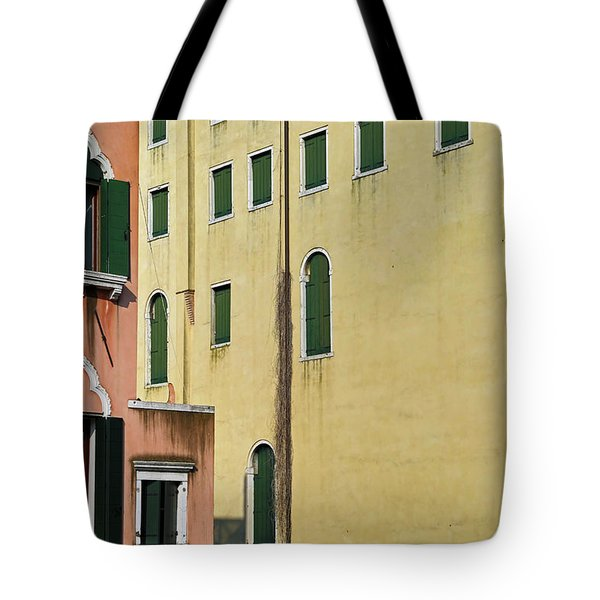 Tote Bag featuring the photograph Abstract Geometric Venetian Buildings In Yellow And Peach by Brooke T Ryan