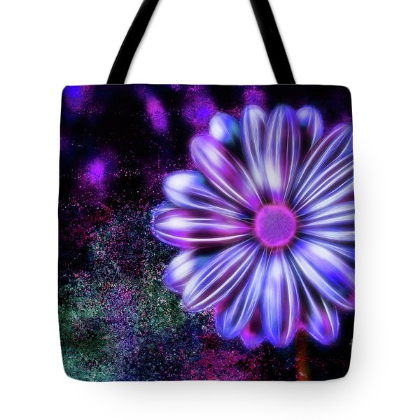 Abstract Glowing Purple And Blue Flower Tote Bag