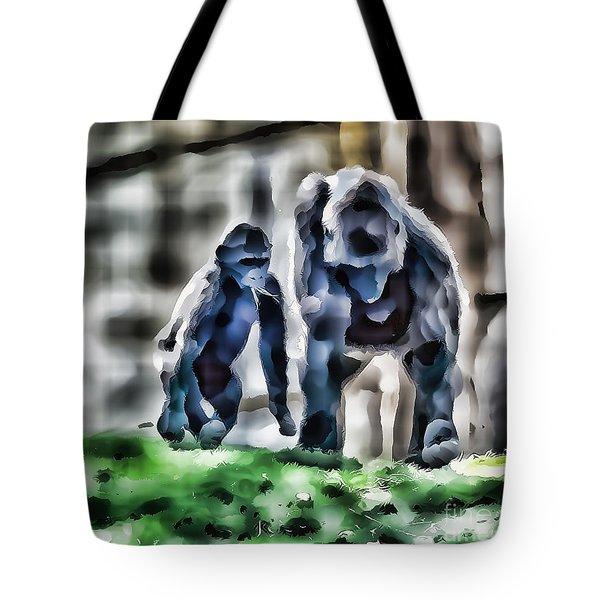 Abstract Gorilla Family Tote Bag