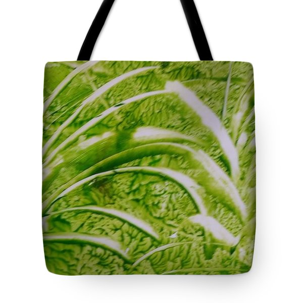 Abstract Green And White Leaves And Grass Tote Bag