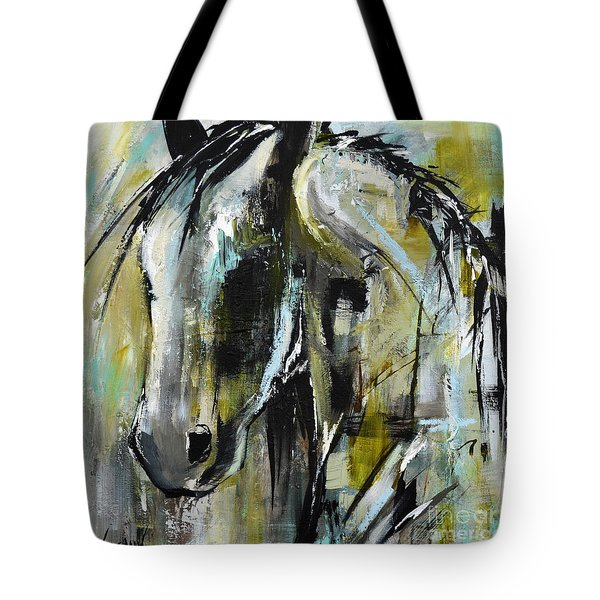 Tote Bag featuring the painting Abstract Green Horse by Cher Devereaux