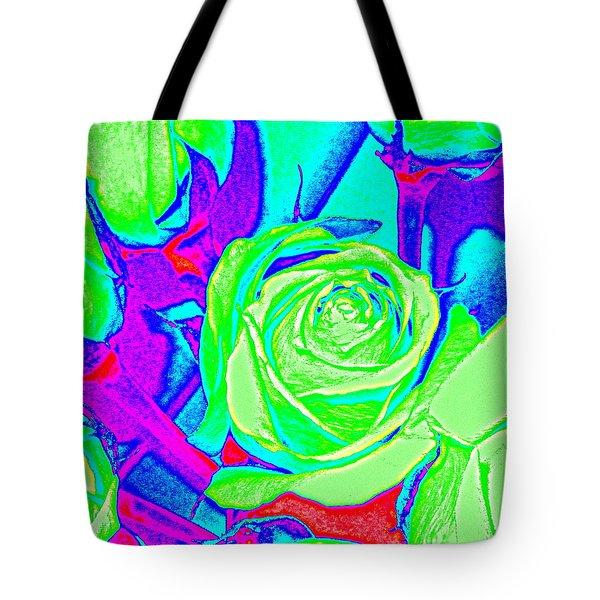 Abstract Green Roses Tote Bag