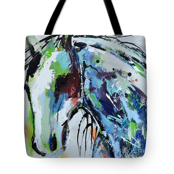 Tote Bag featuring the painting Abstract Horse 18 by Cher Devereaux