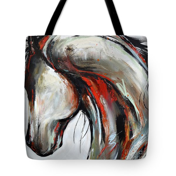 Tote Bag featuring the painting Abstract Horse 21 by Cher Devereaux