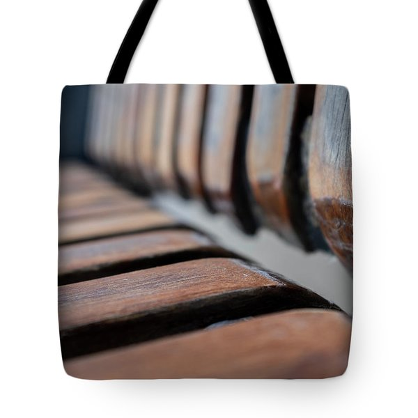 Abstract Image Of A Park Bench Near The Water In Green Bay Wisconsin Tote Bag