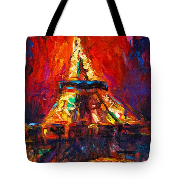 Abstract Impressionistic Eiffel Tower Painting Tote Bag