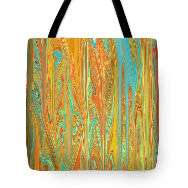 Abstract In Copper, Orange, Blue, And Gold Tote Bag by Jessica Wright
