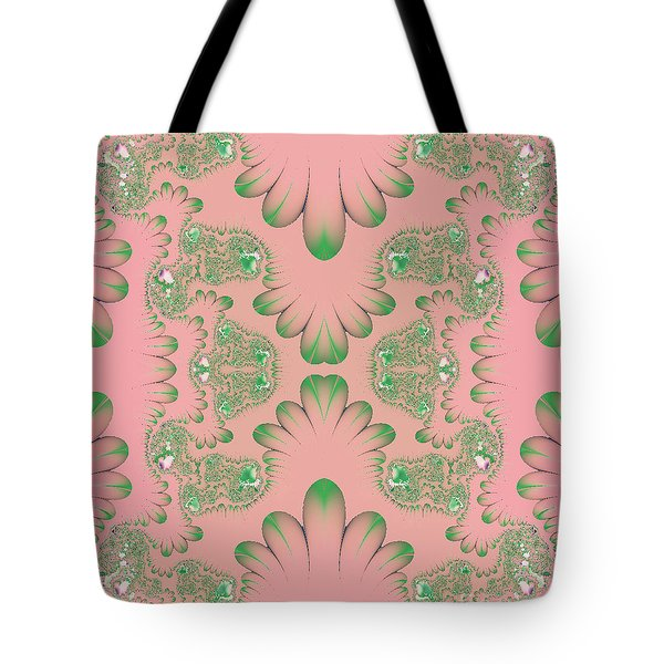 Tote Bag featuring the digital art Abstract In Pink And Green by Linda Phelps
