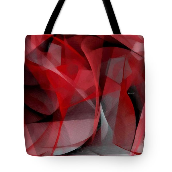 Tote Bag featuring the digital art Abstract In Red Black And White by Rafael Salazar