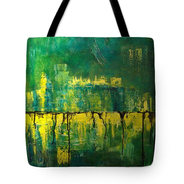 Abstract In Yellow And Green Tote Bag by Jocelyn Friis