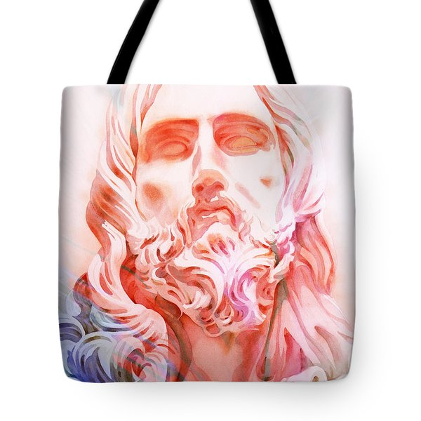 Tote Bag featuring the painting Abstract Jesus 1 by J- J- Espinoza