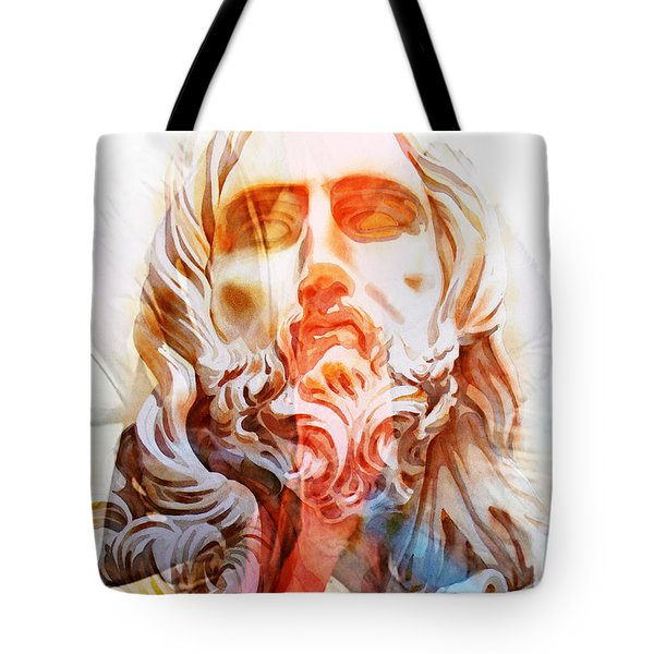 Tote Bag featuring the painting Abstract Jesus 2 by J- J- Espinoza