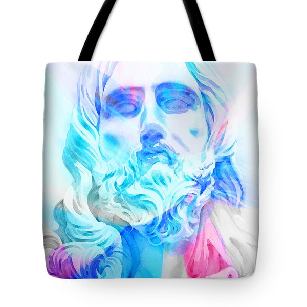 Tote Bag featuring the painting Abstract Jesus 3 by J- J- Espinoza