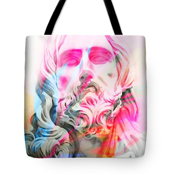 Tote Bag featuring the painting Abstract Jesus 4 by J- J- Espinoza