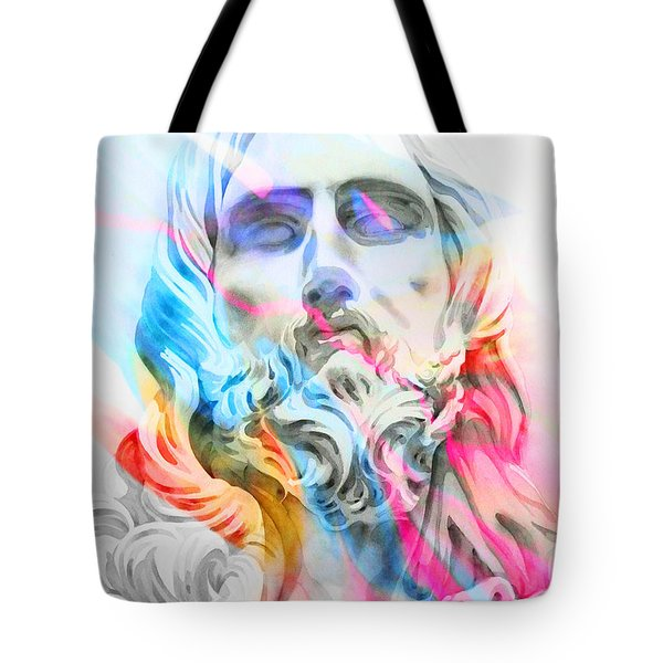 Tote Bag featuring the painting Abstract Jesus 5 by J- J- Espinoza
