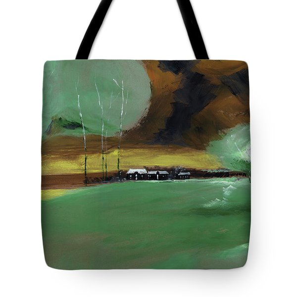 Tote Bag featuring the painting Abstract Landscape by Anil Nene