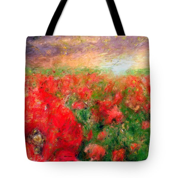Abstract Landscape Of Red Poppies Tote Bag