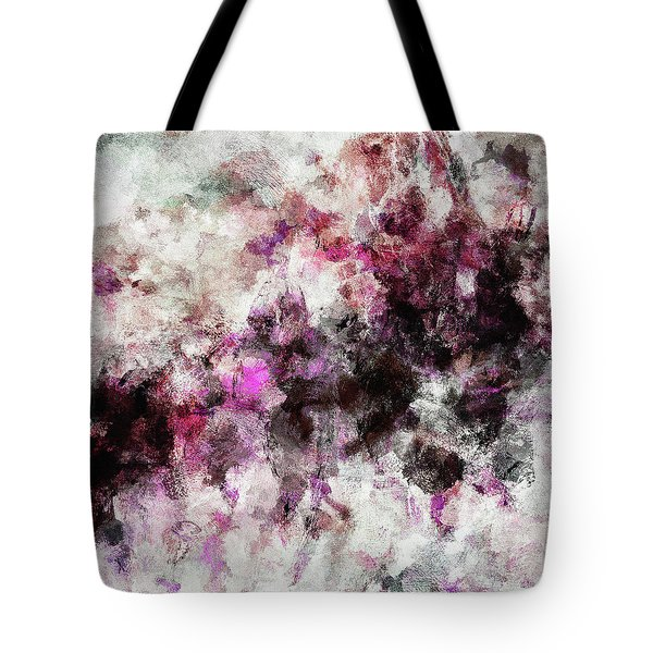 Tote Bag featuring the painting Abstract Landscape Painting In Purple And Pink Tones by Ayse Deniz