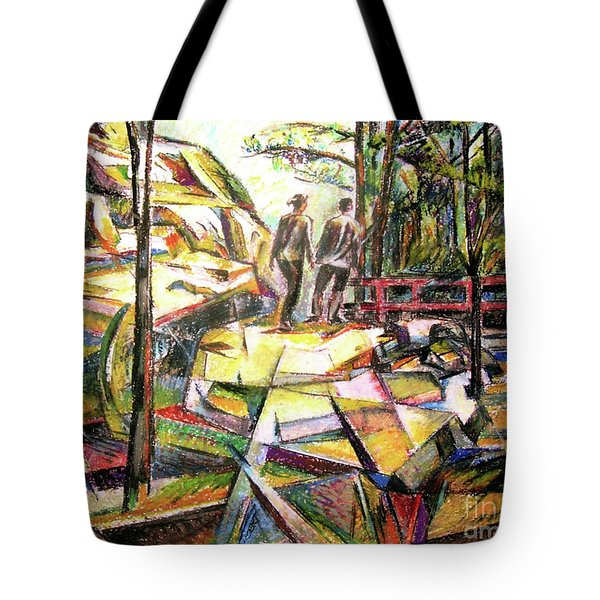 Abstract Landscape With People Tote Bag