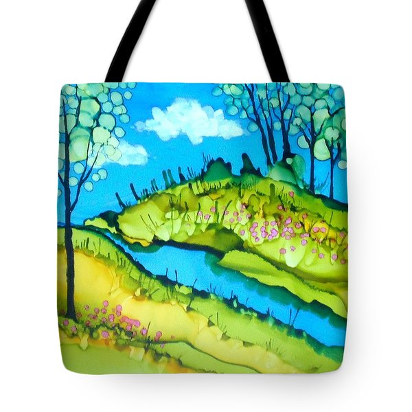 Abstract Landscape With Stream Tote Bag