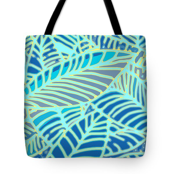 Abstract Leaves Blue And Aqua Tote Bag