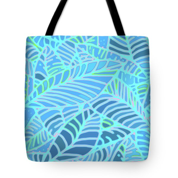 Abstract Leaves Blue And Turquoise Tote Bag