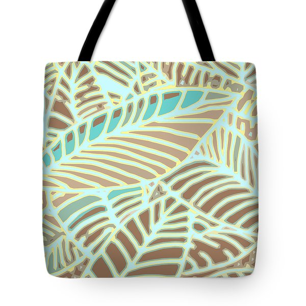 Abstract Leaves Coffee And Aqua Tote Bag