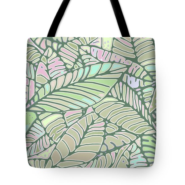 Abstract Leaves Green And Pink Tote Bag