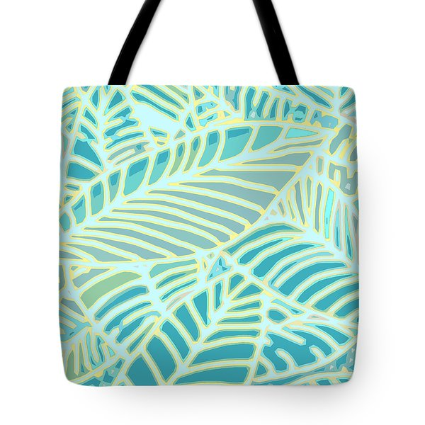 Abstract Leaves Teal And Aqua Tote Bag