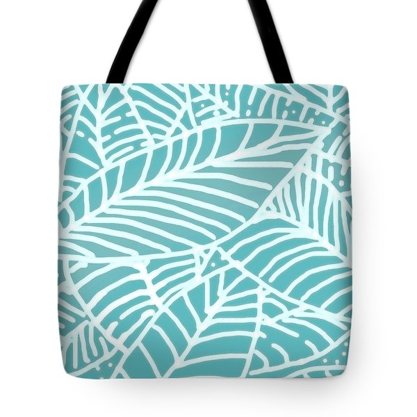 Abstract Leaves Teal Batik Tote Bag