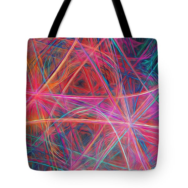 Tote Bag featuring the digital art Abstract Light Show by Andee Design