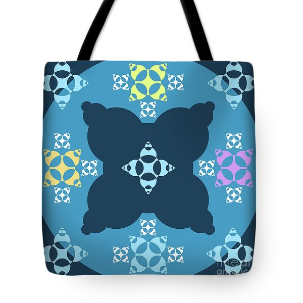 Abstract Mandala Blue, Dark Blue And Cyan Pattern For Home Decoration Tote Bag