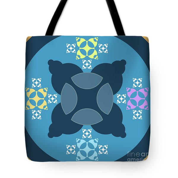 Abstract Mandala Blue, Orange And Cyan Pattern For Home Decoration Tote Bag