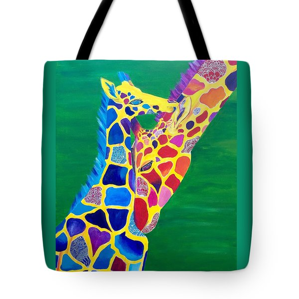 Abstract Mehndi Giraffe Mom And Baby Tote Bag