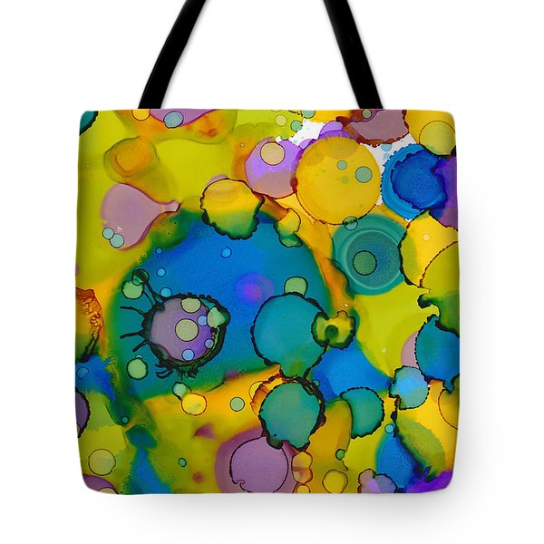 Tote Bag featuring the painting Abstract Microscope Party by Nikki Marie Smith